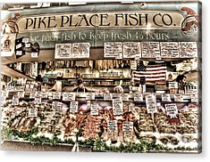 Famous Fish At Pike Place Market Acrylic Print by Spencer McDonald
