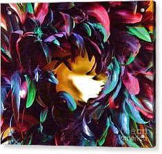 Fancy Feathers Acrylic Print by Leslie Revels Andrews