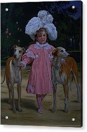Fancy Grayhounds  Acrylic Print by Robert E Gebler