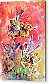 Fancy Irises Flower Watercolor Acrylic Print