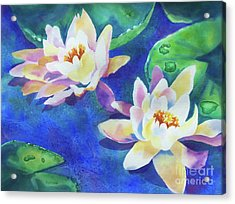 Acrylic Print featuring the painting Fancy Waterlilies by Kathy Braud