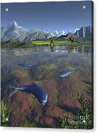 Fanged Enchodus Predatory Fish Acrylic Print by Walter Myers