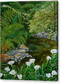 Fantastic Canna Lillies Acrylic Print by Val Stokes