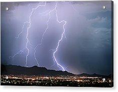 Fantastic Lightning Show Over City Lights Acrylic Print