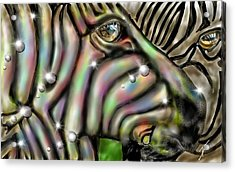 Acrylic Print featuring the digital art Fantastic Zebra by Darren Cannell