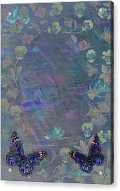 Acrylic Print featuring the painting Fantasy Butterfly Painted Pansy by Judith Cheng