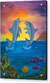 Fantasy Dolphins Acrylic Print by Mikki Alhart