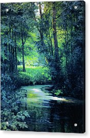Fantasy Forest In Green And Blue Acrylic Print
