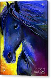Fantasy Friesian Horse Painting Print Acrylic Print