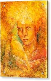 Fantasy Golden Light Fairy Spirit With Two Phoenix Birds  Acrylic Print
