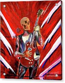 Fantasy Heavy Metal Skull Guitarist Acrylic Print by Tom Conway