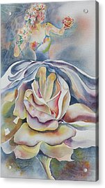 Acrylic Print featuring the painting Fantasy Rose by Mary Haley-Rocks