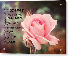 Fantin-latour Roses Quote Acrylic Print by JAMART Photography