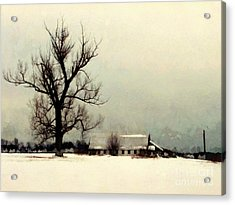 Acrylic Print featuring the photograph Far From Home - Winter Barn by Janine Riley