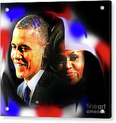 Farewell Barack And Michelle Obama Acrylic Print by Cheryl Riley