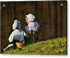 Farm - Farmer - The Young Maidens Acrylic Print by Mike Savad