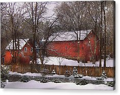 Farm - Barn - Winter In The Country  Acrylic Print