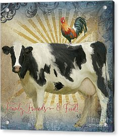 Acrylic Print featuring the painting Farm Fresh Barnyard Animals Cow Rooster Typography by Audrey Jeanne Roberts