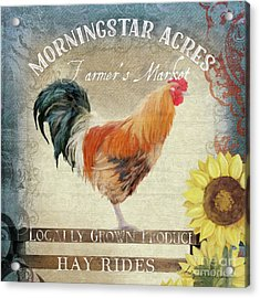 Farm Fresh Barnyard Rooster Morning Sunflower Rustic Acrylic Print