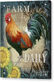 Acrylic Print featuring the painting Farm Fresh Daily Red Rooster Sunflower Farmhouse Chic by Audrey Jeanne Roberts
