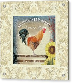 Acrylic Print featuring the painting Farm Fresh Damask Barnyard Rooster Sunflower Square by Audrey Jeanne Roberts