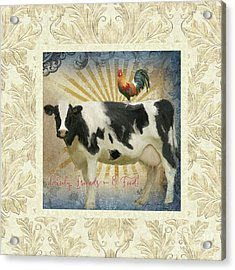 Acrylic Print featuring the painting Farm Fresh Damask Milk Cow Red Rooster Sunburst Family N Friends by Audrey Jeanne Roberts