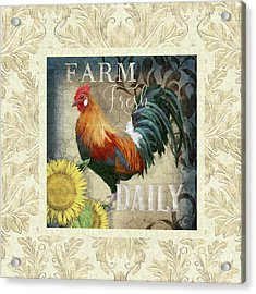Acrylic Print featuring the painting Farm Fresh Damask Red Rooster Sunflower by Audrey Jeanne Roberts