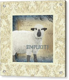 Acrylic Print featuring the painting Farm Fresh Damask Sheep Lamb Simplicity Square by Audrey Jeanne Roberts
