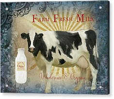 Acrylic Print featuring the painting Farm Fresh Milk Vintage Style Typography Country Chic by Audrey Jeanne Roberts