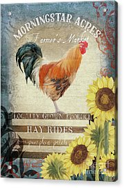 Acrylic Print featuring the painting Farm Fresh Morning Rooster Sunflowers Farmhouse Country Chic by Audrey Jeanne Roberts