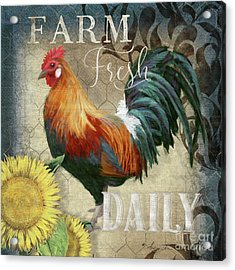 Acrylic Print featuring the painting Farm Fresh Red Rooster Sunflower Rustic Country by Audrey Jeanne Roberts