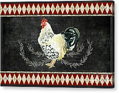Acrylic Print featuring the painting Farm Fresh Rooster 3 - On Chalkboard W Diamond Pattern Border by Audrey Jeanne Roberts