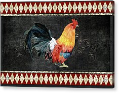 Acrylic Print featuring the painting Farm Fresh Rooster 4 - On Chalkboard W Diamond Pattern Border by Audrey Jeanne Roberts