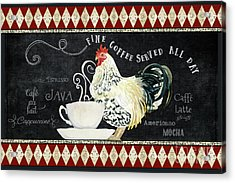 Acrylic Print featuring the painting Farm Fresh Rooster 5 - Coffee Served Chalkboard Cappuccino Cafe Latte  by Audrey Jeanne Roberts