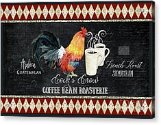 Acrylic Print featuring the painting Farm Fresh Rooster 6 - Coffee Bean Roasterie French Roast by Audrey Jeanne Roberts