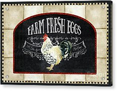 Acrylic Print featuring the painting Farm Fresh Roosters 1 - Fresh Eggs Typography by Audrey Jeanne Roberts