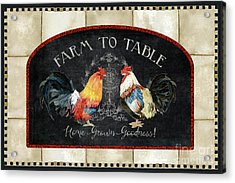Acrylic Print featuring the painting Farm Fresh Roosters 2 - Farm To Table Chalkboard by Audrey Jeanne Roberts