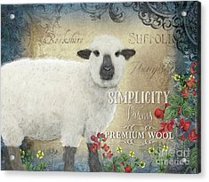 Acrylic Print featuring the painting Farm Fresh Sheep Lamb Wool Farmhouse Chic  by Audrey Jeanne Roberts