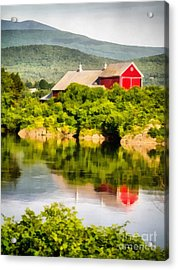 Farm Landscape Painting Acrylic Print by Edward Fielding