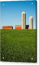 Farm Silos And Shed On Green And Against Blue Acrylic Print