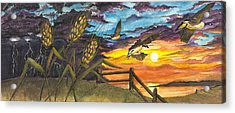 Acrylic Print featuring the painting Farm Sunset by Darren Cannell