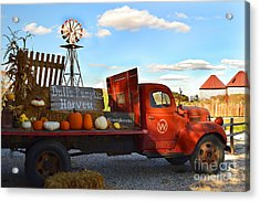 Farm With Red Truck In Fall  Acrylic Print