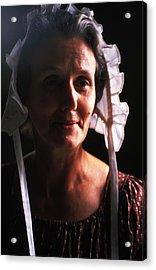 Farm Woman In Bonnet Acrylic Print by Carl Purcell