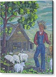 Farm Work II Acrylic Print by Phyllis Mae Richardson Fisher