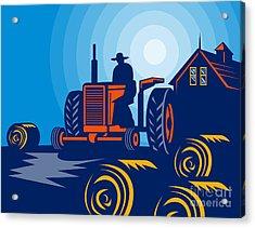 Farmer Driving Vintage Tractor Acrylic Print by Aloysius Patrimonio