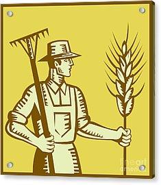 Farmer With Rake And Wheat Woodcut Acrylic Print by Aloysius Patrimonio