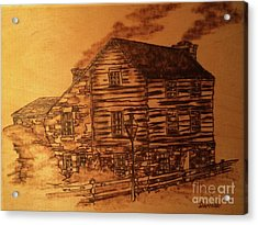 Acrylic Print featuring the pyrography Farmhouse by Denise Tomasura