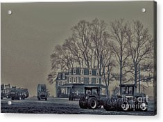 Acrylic Print featuring the photograph Farmhouse In Morning Fog by Sandy Moulder