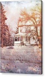Acrylic Print featuring the photograph Farmhouse In Snow by Jill Battaglia