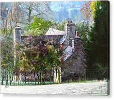 Farmhouse On A Cold Winter Morning. Acrylic Print by Harry Robertson